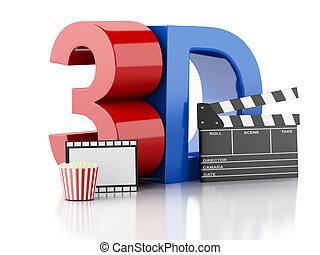 bio, kläpp, popcorn, dricka, och, film, reel., 3, illustration