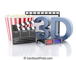 bio, kläpp, popcorn, filma rullen, och, 3, glasses., 3, illustrati