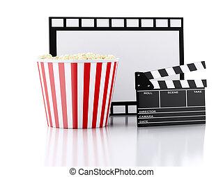 bio, kläpp, popcorn, och, film, reel., 3, illustration