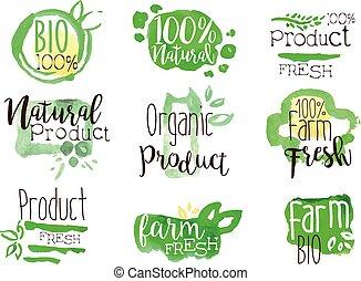 bio, komplet, barwny, zdrowy, promo, jadło, znaki
