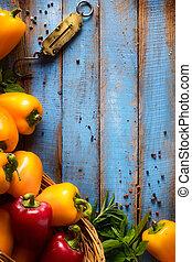 bio, kunst, gezonde , groentes, voedingsmiddelen, wood., keukenkruiden, organisch, achtergrond, houten, spices.