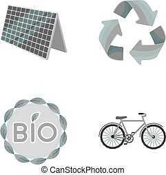 Bio label, eco bike, solar panel, recycling sign. Bio and ecology set collection icons in monochrome style vector symbol stock illustration web.