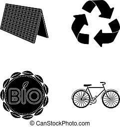 Bio label, eco bike, solar panel, recycling sign.Bio and ecology set collection icons in black style vector symbol stock illustration web.