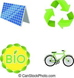 Bio label, eco bike, solar panel, recycling sign.Bio and ecology set collection icons in cartoon style vector symbol stock illustration web.