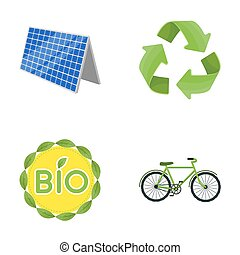 Bio label, eco bike, solar panel, recycling sign.Bio and ecology set collection icons in cartoon style bitmap symbol stock illustration web.