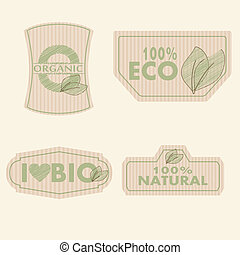 bio labels - bio organic natural vintage illustration vector...