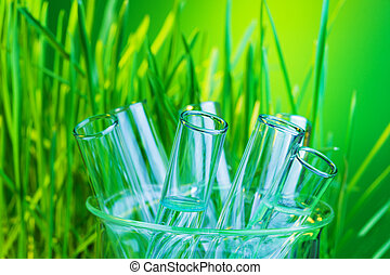 Many glass test tubes in lab flask with fresh green spring grass on background