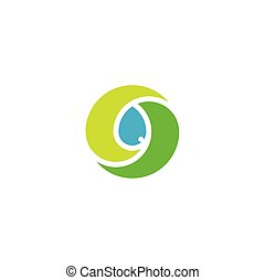 bio leaves and water drop vector logo icon symbol