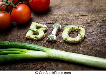 bio, lettere, costruisce, verdura, parola, canapes