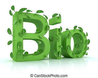 bio, liście, słowo, biały