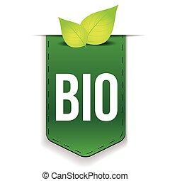 bio, lint, met, blad, groene