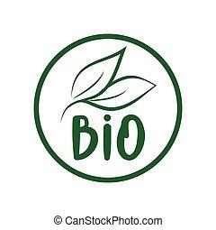 Bio logo green leaf label  for food package design. Isolated green leaf icon for vegetarian bio nutrition and healthy diet or vegan restaurant menu symbol.