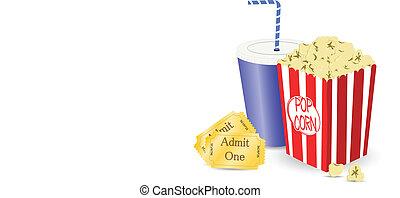 bio, lottsedlar, och, popcorn