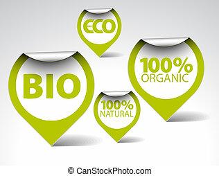 bio, markeringen, voedingsmiddelen, eco, natuurlijke , organisch, groene