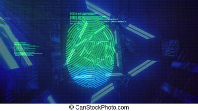 Animation of digital interface with blue and green biometric fingerprint scanning and data processing with blue neon shapes. Global digital online security concept digitally generated image.