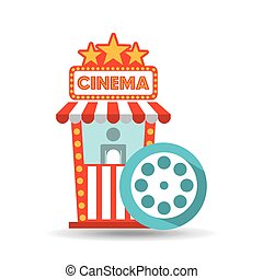 bio, movien etiketterar, ämbete., filma rullen, grafisk