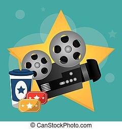 bio, movieprojektor, lottsedlar, och, soda, dricka