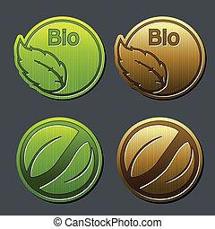 bio, natural, etiquetas, -, hoja, pegatinas