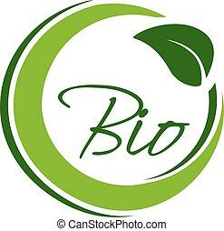 bio, natural, naturaleza, simple, hoja, símbolo, etiqueta, vector, verde, elemento, circular