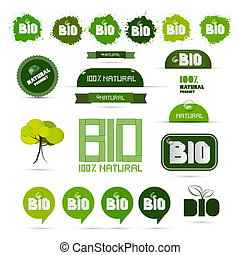 Bio - Natural Product Green Labels - Tags - Stickers Set