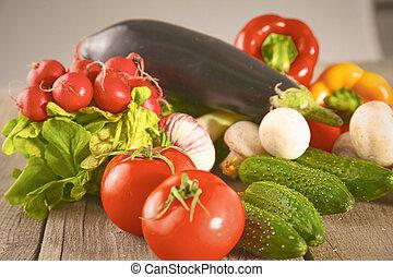 bio, natuur, groentes, basket., vers plantaardig, backg, op