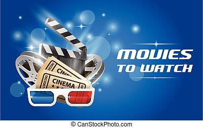 bio, och, film, -, film, premiär, affisch, med, clapperen stiger ombord, filma rullen, och, exponeringsglas 3d