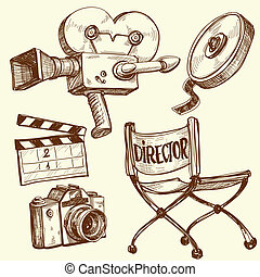 bio, och, fotografi, årgång, sätta