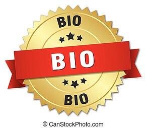 bio, or, rouges, écusson, ruban, 3d
