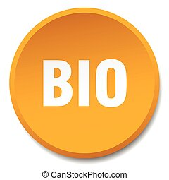 bio orange round flat isolated push button