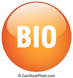bio orange round gel isolated push button