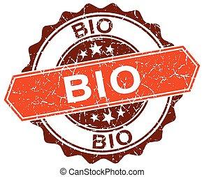 bio orange round grunge stamp on white
