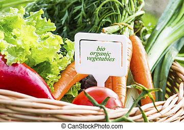 Bio organic vegetables with label