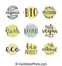 bio, organico, natural., set, di, mano, disegnato, vettore, badges.