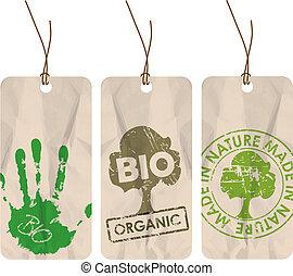 bio, organique, étiquettes, eco, /, grunge