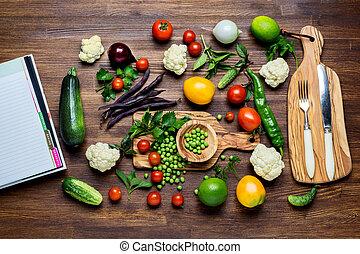 bio, organisch, gezonde , groentes, voedingsmiddelen, wood., keukenkruiden, achtergrond, houten, spices.