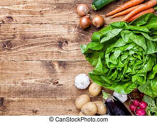 bio, organisch, houten, groentes, achtergrond, fris
