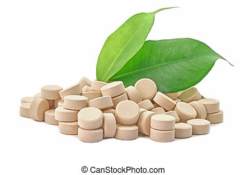 Bio pills medicine with green leaf