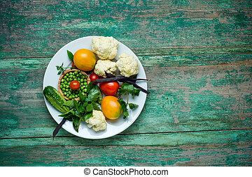 bio, plaat., houten, groentes, achtergrond, groente, fris, op