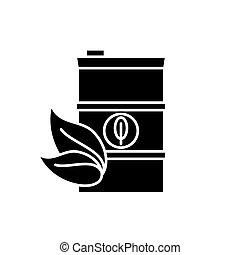 bio, pojęcie, odizolowany, ilustracja, znak, tło., wektor, czarnoskóry, opał, ikona, symbol