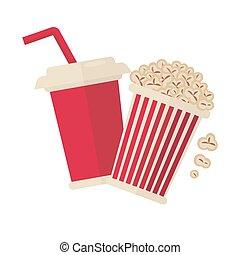 bio, popcorn, och, soda, dricka, för, film, vektor, lägenhet, ikon