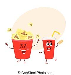 bio, popcorn, och, soda, vatten, tecken, med, le, mänsklig, vettar