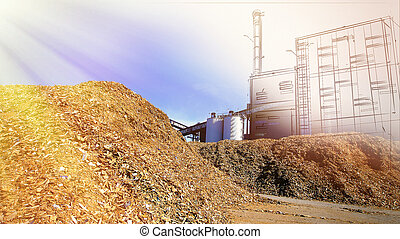 bio power plant drawing  with storage of wooden fuel against blue sky