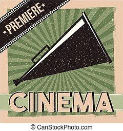 bio, premiär, affisch, årgång, direktör, högtalare
