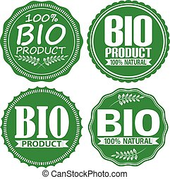 Bio product 100% natural green signs set, vector illustration