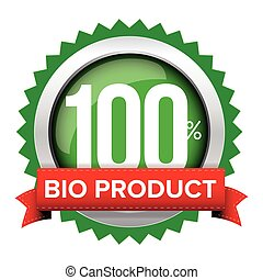 Bio product badge vector with red ribbon