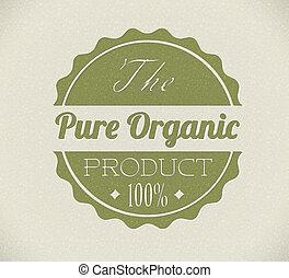 bio, product, grunge, postzegel, ouderwetse , /, oud, vector, retro, organisch, ronde