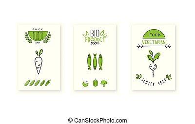 bio, product, kentekens, embleem, winkel, landbouwers, voedingsmiddelen, vegetariër, illustratie, vector, vegan, achtergrond, logo, organisch, witte , ontwerp, markt