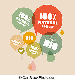 bio, product, set, natuurlijke , etiketten, illustratie, groene, retro