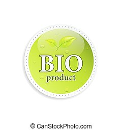 Bio product vector icon or label.