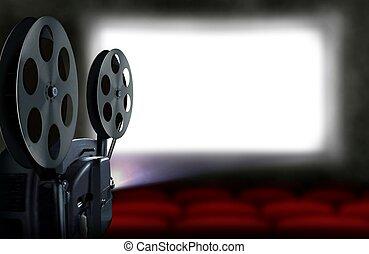bio, projektor, med, tom, sittplatser